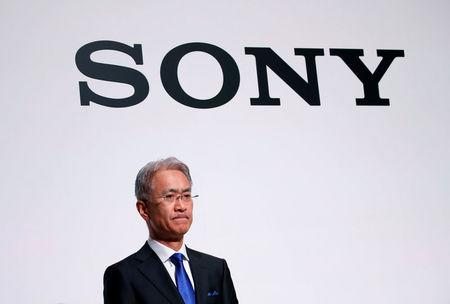 Sony Corp's new President and CEO Yoshida attends a news conference on their business plan at the company's headquarters in Tokyo
