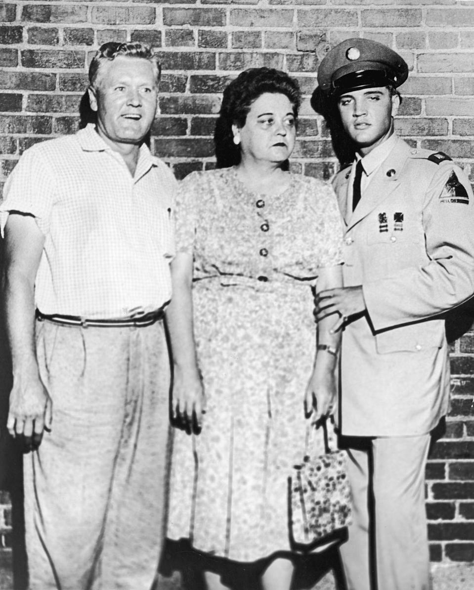 "<p>While Elvis was deployed in Germany, his parents Vernon and Gladys Presley lived at Graceland without him and his mother sadly died at the estate. The star was issued a <a href=""https://memphismagazine.com/ask-vance/rare-photo-gladys-presleys-original-gravesite-at-forest-hill-cemetery-mother-of-elvis-presley/"" rel=""nofollow noopener"" target=""_blank"" data-ylk=""slk:temporary leave of service"" class=""link rapid-noclick-resp"">temporary leave of service</a> to attend the funeral in Memphis.</p>"