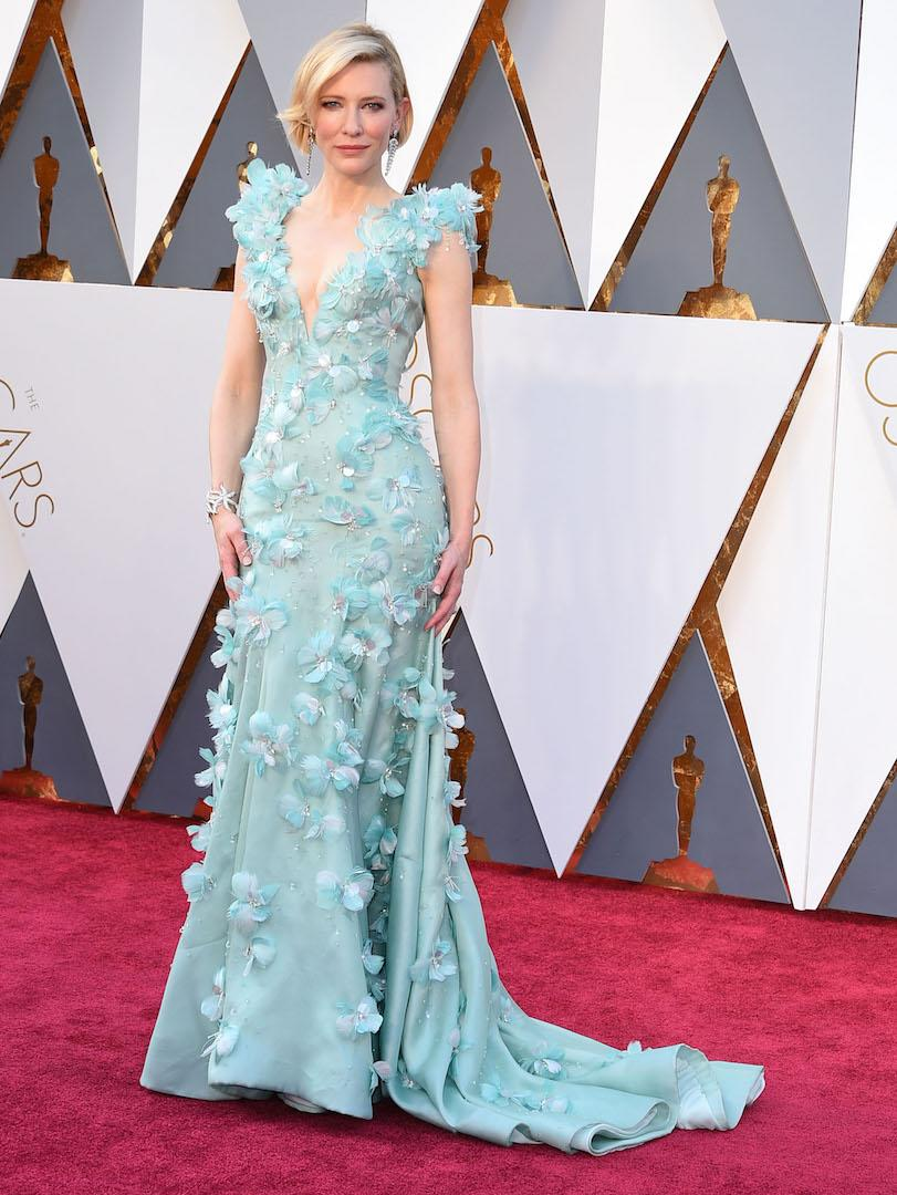 Can we all give a round of applause for this work of art please? The actress chose a heavily embellished Armani Privé number in pistachio green for the 2016 Oscars. [Photo: Getty]