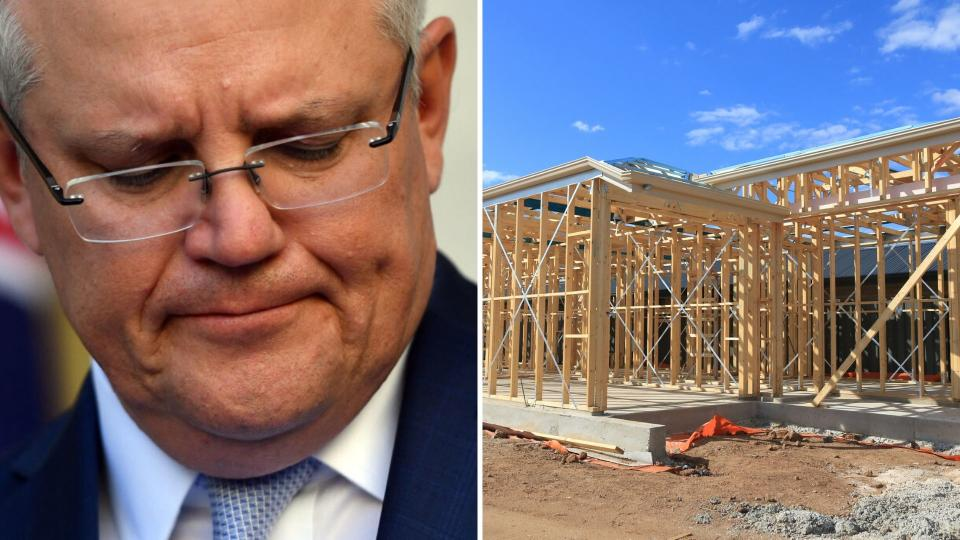 Pictured: Scott Morrison, Australian house being built. HomeBuilder package concept. Images: Getty