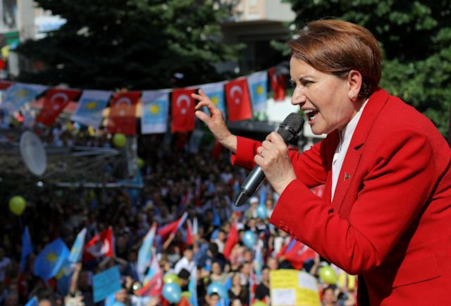 Meral Aksener, Iyi (Good) Party leader and presidential candidate, speaks during an election rally in Istanbul, Turkey June 22, 2018. REUTERS/Huseyin Aldemir TPX IMAGES OF THE DAY