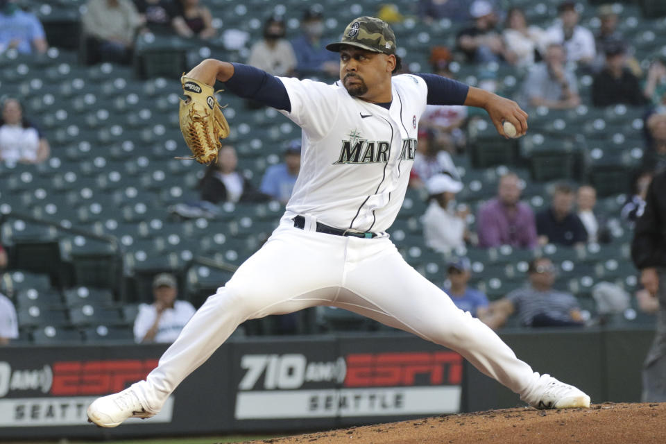 Seattle Mariners starting pitcher Justus Sheffield throws to a Cleveland Indians batter during the first inning of a baseball game Saturday, May 15, 2021, in Seattle. (AP Photo/Jason Redmond)