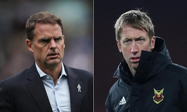Frank de Boer, left, and Graham Potter, who has impressed in Sweden with Östersund, are the leading candidates to take over from Carlos Carvalhal at Swansea.