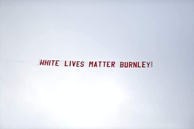A White Lives Matter banner was flown over the Etihad Stadium on Monday night (Shaun Botterill/NMC Pool/PA)