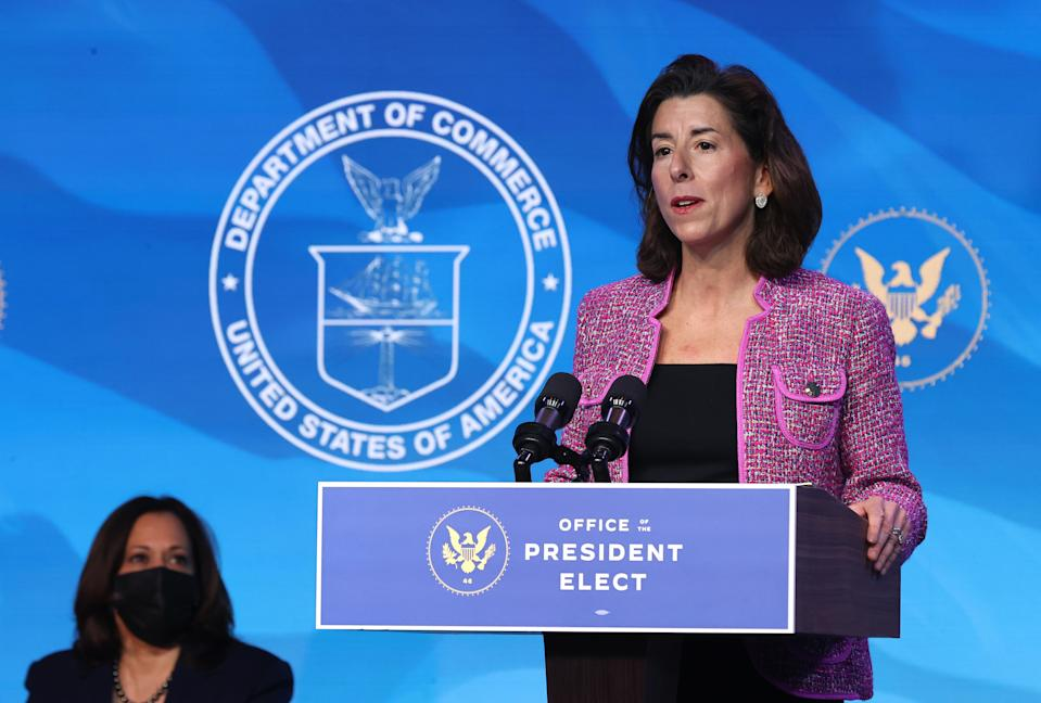 Rhode Island Gov. Gina Raimondo delivers remarks after being announced as Joe Biden's Commerce secretary nominee. (Chip Somodevilla/Getty Images)