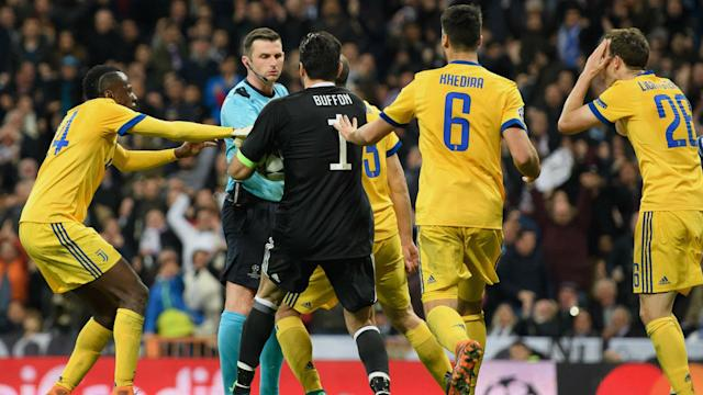 Michael Oliver received threats after making a penalty call against Juventus in the Champions League, with UEFA condemning the abuse.