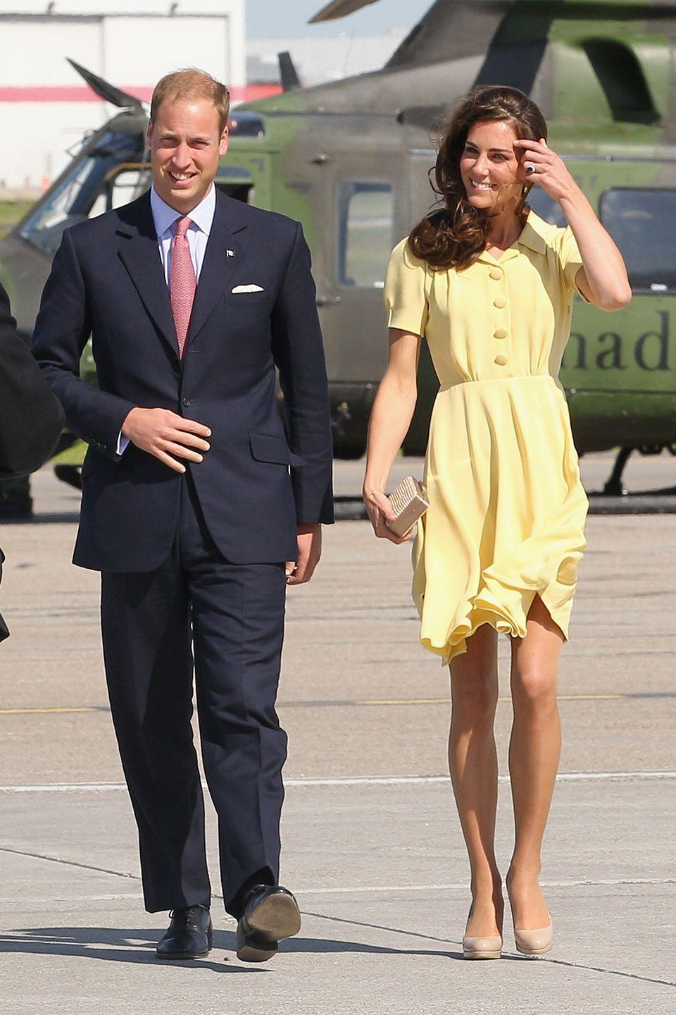 <p>The Queen has reportedly prohibited royal women from baring their knees in public, which leaves Kate Middleton's 2011 breezy, yellow dress on her list of no-nos. </p>