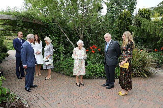 The Queen, the Prince of Wales and the Duchess of Cornwall, the Duke and Duchess of Cambridge attend a reception at the Eden Project with Prime Minister Boris Johnson and wife Carrie and G7 leaders during the G7 summit in Cornwall