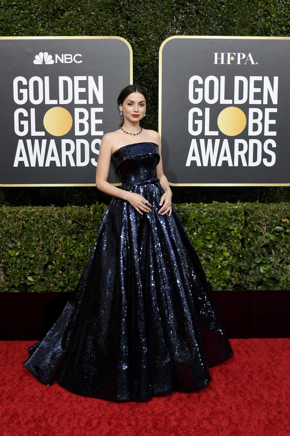 """The """"Knives Out"""" star arrived for her first Golden Globes in a custom Ralph & Russo gown. (Photo by: Kevork Djansezian/NBC/NBCU Photo Bank via Getty Images)"""