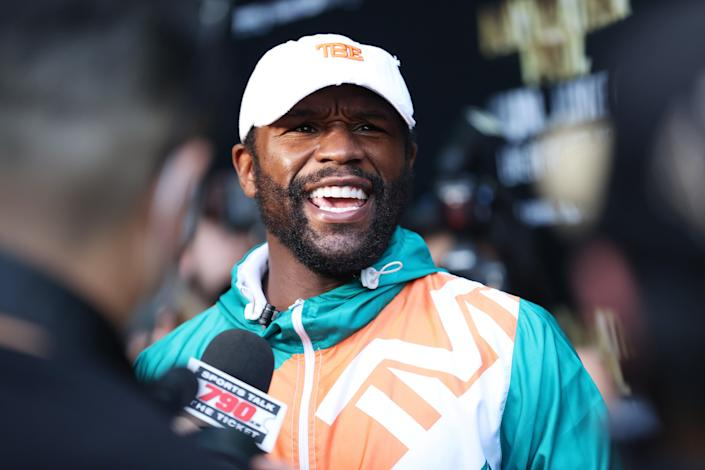 <p>Mayweather is bouting in an exhibition match this Sunday</p> (Getty Images)