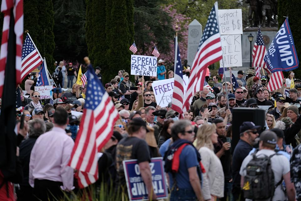 Hundreds of protesters gather around the Capitol in Olympia, Washington. Source: Getty