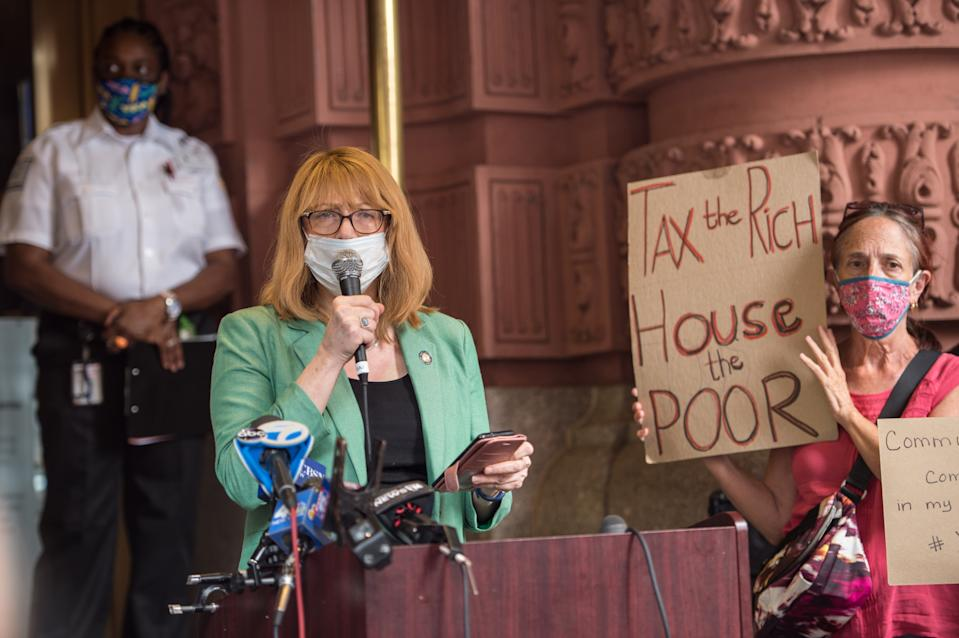 New York State Assembly member Linda B. Rosenthal speaks at a press conference in support of the homeless men living at the Lucerne hotel, now evicted from the Upper West Side by mayor Bill DeBlasio on September 09, 2020 in New York City. (Photo by Steven Ferdman/Getty Images)