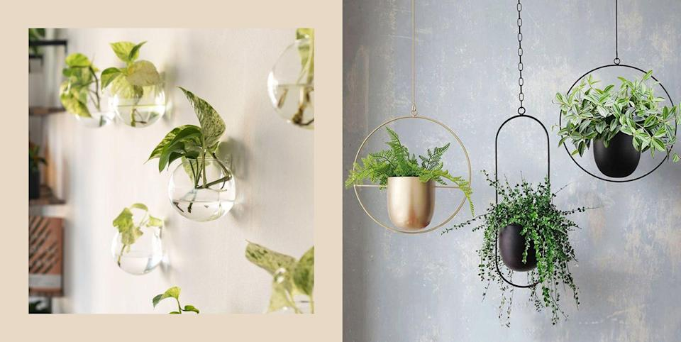 """<p class=""""body-dropcap"""">If you struggle with picking out the perfect <a href=""""https://www.cosmopolitan.com/lifestyle/g29824803/small-indoor-house-plants/"""" rel=""""nofollow noopener"""" target=""""_blank"""" data-ylk=""""slk:plant for your apartment"""" class=""""link rapid-noclick-resp"""">plant for your apartment</a>, then finding the best way to properly and appropriately display your new photosynthesizing child probs won't be easy either. Sure, you could go with <a href=""""https://www.cosmopolitan.com/lifestyle/g35652317/indoor-plant-stands/"""" rel=""""nofollow noopener"""" target=""""_blank"""" data-ylk=""""slk:some super cute plant stands"""" class=""""link rapid-noclick-resp"""">some super cute plant stands</a>, but chances are your Polly Pocket-sized apartment is already struggling to contain the rest of your creature comforts (see: chairs covered in clothes). I get it: You. Need. Space. </p><p>And that, friends, brings us to wall planters. The unsung hero of all the cool plant moms who walk among us. Yes, they're chic. Yes, they save floor space. And, yes, your plants will enjoy living in them quite a lot. I mean, the views alone are like upgrading from the basement to the penthouse, amirite?</p><p>Below are some of the best wall planters to show off your plant bbs in the manner they demand to be flaunted. From macrame hanging planters (basically plant hammocks) to colorful ceramic stones (yes, the plant goes IN the stone), we've gathered the best pieces for your plants to settle into.<br></p>"""