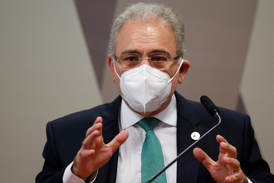 Brazil's Health Minister Marcelo Queiroga attends a meeting of the Parliamentary Inquiry Committee (CPI) to investigate government actions and management during the coronavirus disease (COVID-19) pandemic, at the Federal Senate in Brasilia, Brazil May 6, 2021. REUTERS/Adriano Machado