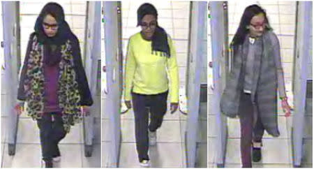British teenage girls Shamima Begun, Amira Abase and Kadiza Sultana (L-R) walk through security at Gatwick airport before they boarded a flight to Turkey on February 17, 2015, in this combination picture made from handout still images taken from CCTV and released by the Metropolitan Police on February 22, 2015. REUTERS/Metropolitan Police/Handout via Reuters