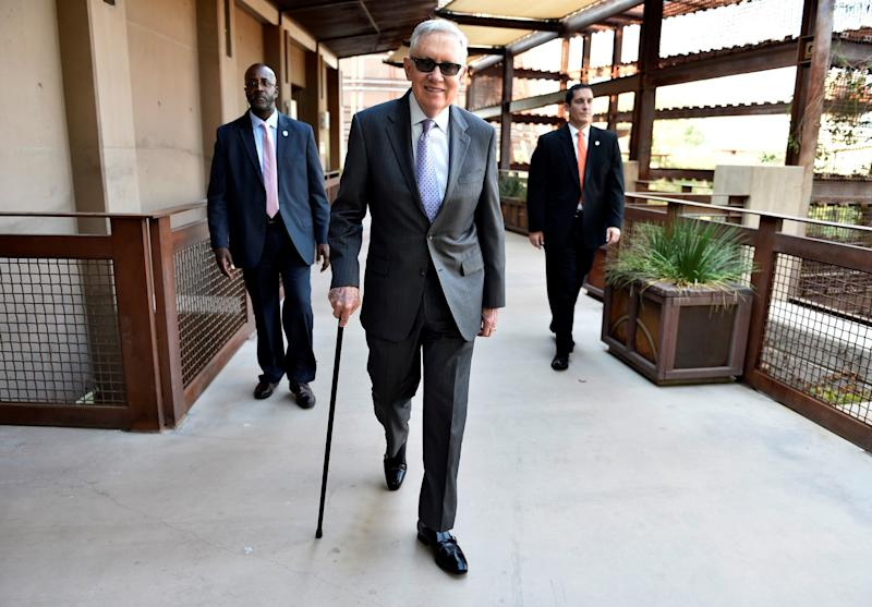Sen. Harry Reid arrives for a press interview in Las Vegas last August. (Photo: David Becker/Reuters)