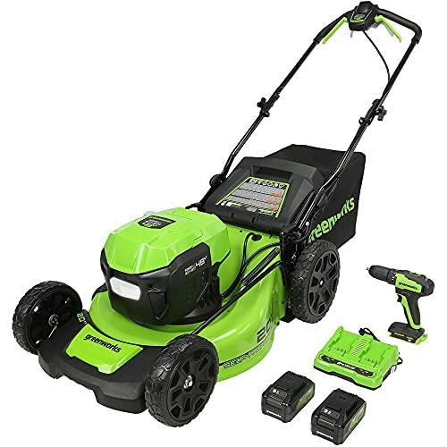 Greenworks 2 x 24V (48V) 20-Inch Brushless Self-Propelled Mower (2) 5Ah USB Batteries and Dual…