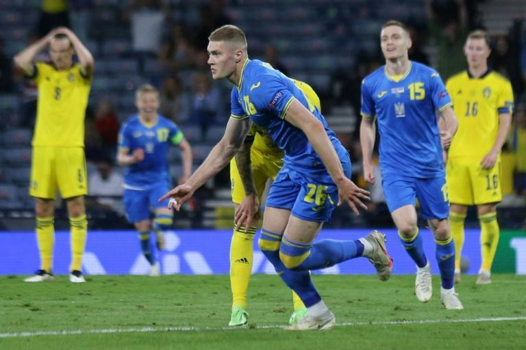 Artem Dovbyk's first Ukraine goal sent his country through to the Euro 2020 quarter-finals