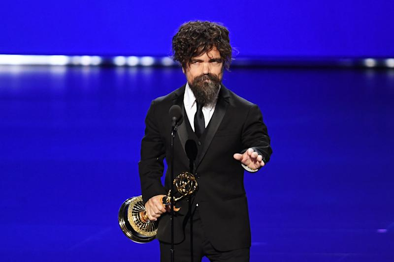 LOS ANGELES, CALIFORNIA - SEPTEMBER 22: Peter Dinklage accepts the Outstanding Supporting Actor in a Drama Series award for 'Game of Thrones' onstage during the 71st Emmy Awards at Microsoft Theater on September 22, 2019 in Los Angeles, California. (Photo by Kevin Winter/Getty Images)