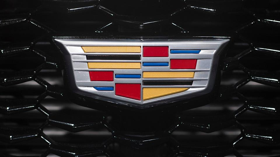 Mandatory Credit: Photo by Mark Lennihan/AP/Shutterstock (9480522f)The Cadillac emblem is shown on the from grill of its XT4 at the New York Auto ShowAuto Show Cadillac, NEW YORK, USA - 27 Mar 2018.
