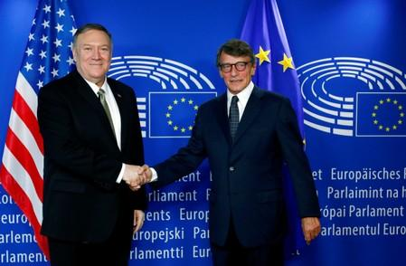 U.S. Secretary of State Pompeo shakes hands with European Parliament President Sassoli in Brussels