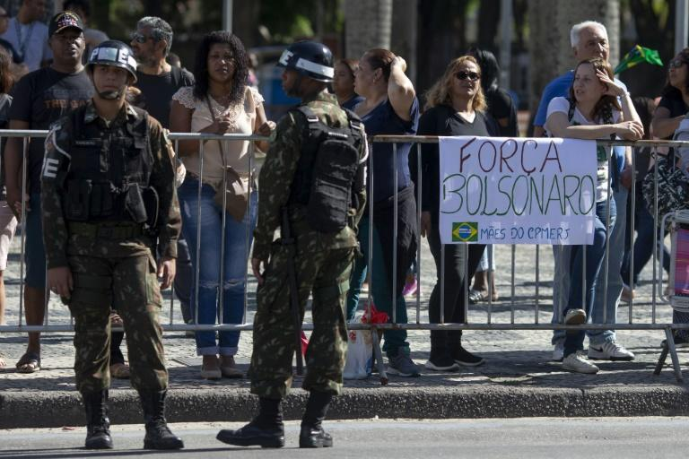 A banner supporting Brazilian presidential candidate Jair Bolsonaro during a military parade to commemorate Brazil's Independence Day in downtown Rio de Janeiro