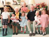 """<p>While this photo of Prince Philip, the Queen, and several of their great grandchildren was taken by the Duchess of Cambridge back in 2018, it was only shared with the public after the Duke of Edinburgh's passing. </p><p><a class=""""link rapid-noclick-resp"""" href=""""https://www.townandcountrymag.com/society/tradition/a36121727/queen-elizabeth-prince-philip-death-great-grandchildren-photos/"""" rel=""""nofollow noopener"""" target=""""_blank"""" data-ylk=""""slk:Read the story behind the photo."""">Read the story behind the photo.</a></p>"""