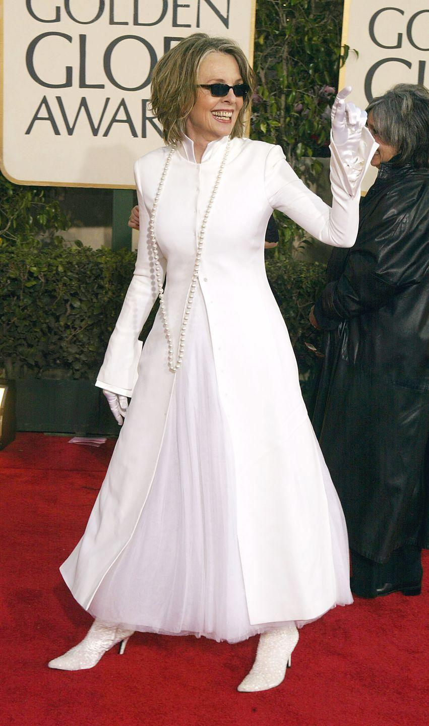 <p>Keaton rocked a stark-white look on the carpet in 2004.</p>