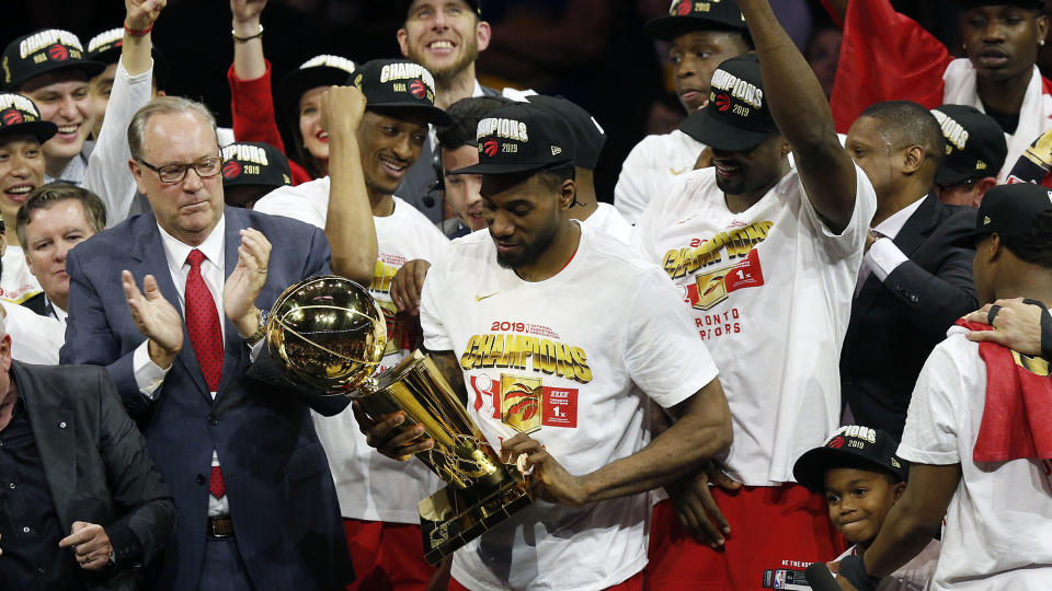It's been two years since the Raptors hoisted the Larry O'Brien Trophy. (Photo by Lachlan Cunningham/Getty Images)