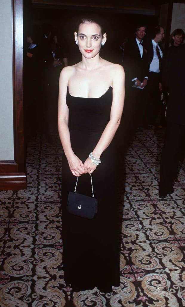 Winona Ryder in 1996 at the Artist's Rights Foundation Honors Martin Scorsese event in Century City, California.