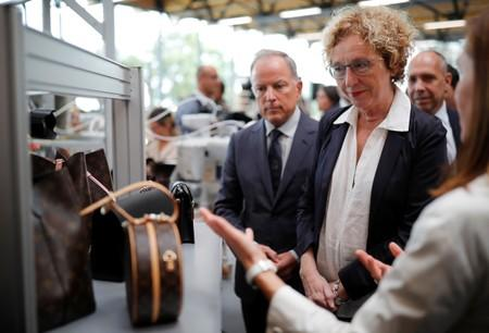Louis Vuitton's CEO Michael Burke and French Labour Minister Muriel Penicaud attend the inauguration of a Vuitton new high-end garment factory in Beaulieu-sur-Layon