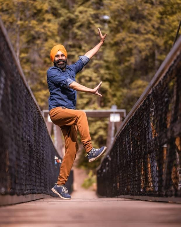 Gurdeep Pandher at Miles Canyon in the Yukon. He's become an online sensation with his Bhangra dance videos, and now he's being featured on billboards for Youtube in Canada. (Stewart Burnett - image credit)