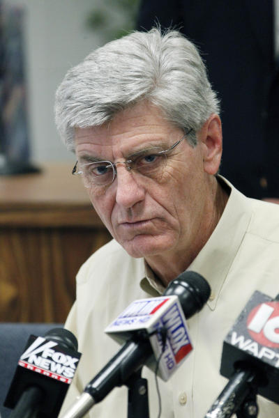 Gov. Phil Bryant discusses Gulf Coast preparations for Tropical Storm Isaac during a news conference at the Harrison County Emergency Operations Center in Gulfport, Miss., Monday, Aug. 27, 2012. (AP Photo/Rogelio V. Solis)