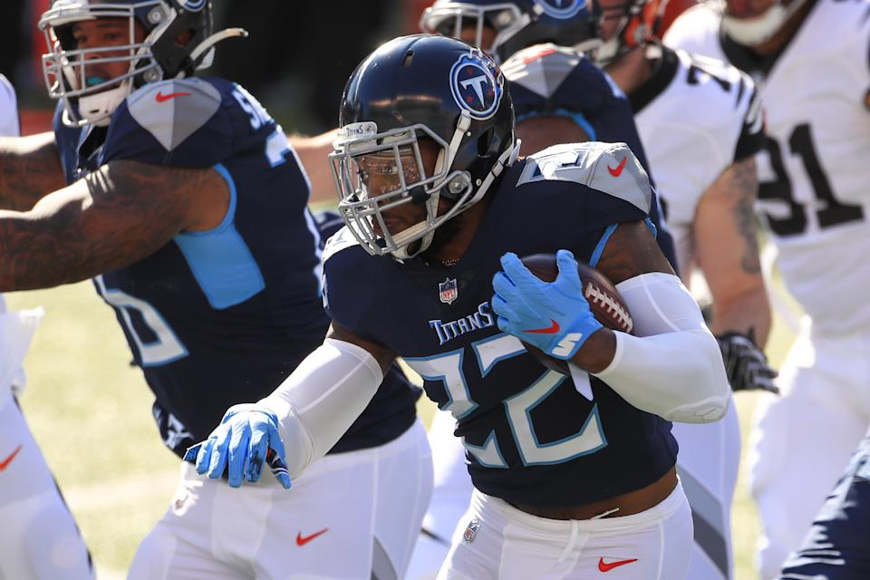 The split zone has helped pave the way for Titans running back Derrick Henry (pictured) and the Vikings' Dalvin Cook. (Photo by Ian Johnson/Icon Sportswire via Getty Images)