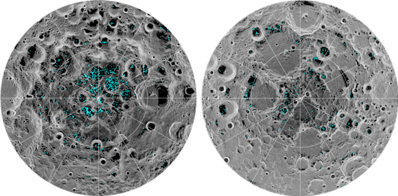 NASA's Moon Mineralogy Mapper instrument shows the distribution of surface ice at the Moon's south pole (left) and north pole (right). Blue represents the ice locations, plotted over an image of the lunar surface, where lighter grays show warmer temperatures and darker is where the moon is coldest. (NASA)