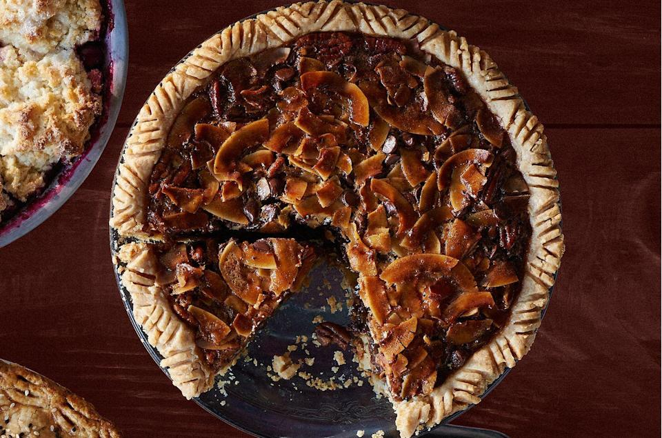 """<p>Sure, pecan pie is great on it's own, but the addition of coconut and chocolate adds layers of delicious flavor.</p><p><strong><a href=""""https://www.countryliving.com/food-drinks/recipes/a36551/chocolate-coconut-pecan-pie/"""" rel=""""nofollow noopener"""" target=""""_blank"""" data-ylk=""""slk:Get the recipe"""" class=""""link rapid-noclick-resp"""">Get the recipe</a>.</strong> </p>"""