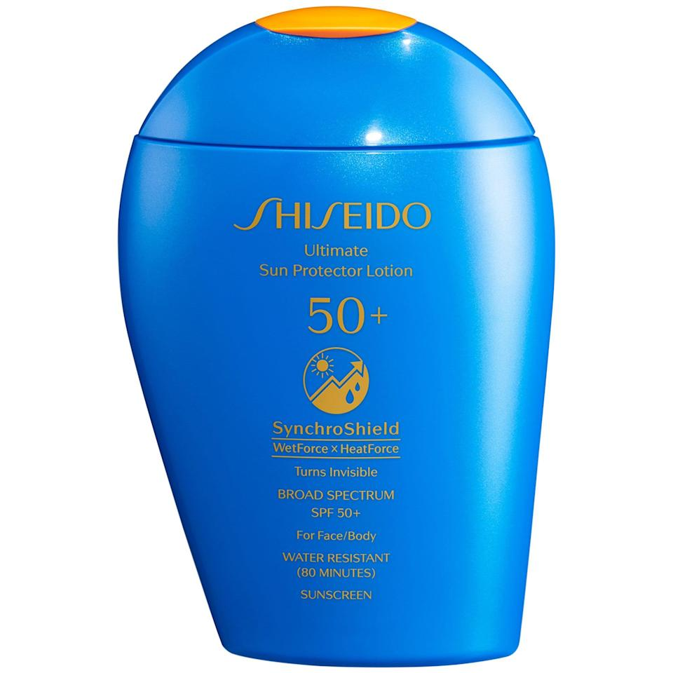 """<h3>Shiseido Ultra Sun Protector Cream SPF 50+ Sunscreen</h3><br>Typically, scorching temps or a dip in the pool are bad news for sunscreen, but this broad-spectrum defender actually performs <em>better</em> when exposed to heat or water. The smart formula reacts to the exposure by spreading into a more uniform veil; plus, tea extract helps fend off <a href=""""https://www.refinery29.com/en-us/2018/03/192727/anti-pollution-skin-products"""" rel=""""nofollow noopener"""" target=""""_blank"""" data-ylk=""""slk:skin-damaging pollution"""" class=""""link rapid-noclick-resp"""">skin-damaging pollution</a>.<br><br><strong>Shiseido</strong> Ultimate Sun Protector Lotion SPF 50+ Sunscreen, $, available at <a href=""""https://go.skimresources.com/?id=30283X879131&url=https%3A%2F%2Fwww.sephora.com%2Fproduct%2Fshiseido-ultimate-sun-protector-lotion-spf-50-sunscreen-P456398"""" rel=""""nofollow noopener"""" target=""""_blank"""" data-ylk=""""slk:Sephora"""" class=""""link rapid-noclick-resp"""">Sephora</a>"""