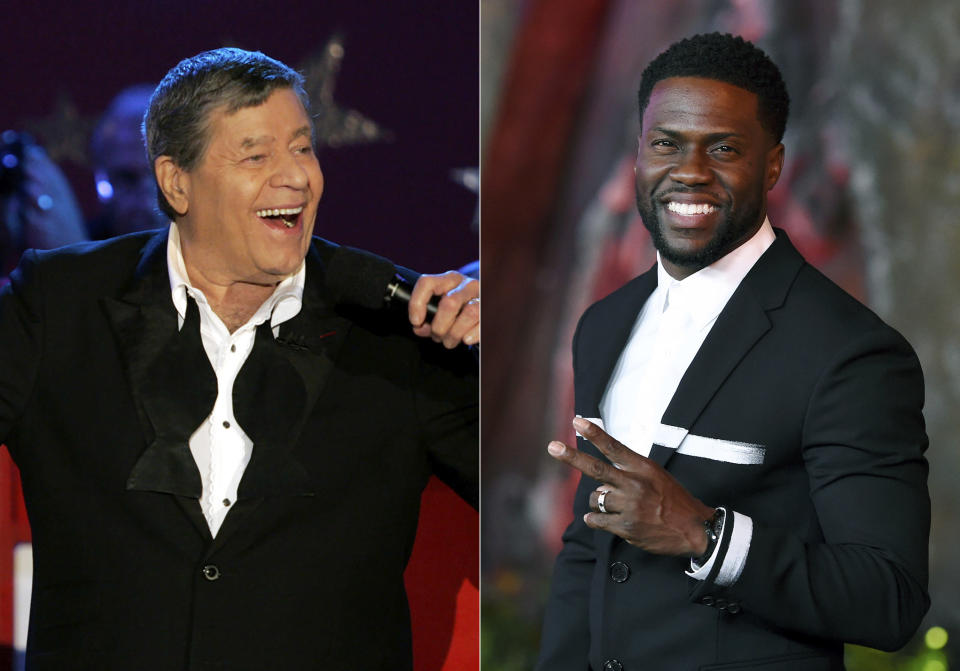 """Jerry Lewis performs during the Muscular Dystrophy Association telethon in Beverly Hills, Calif. on Sept. 5, 2005, left, and Kevin Hart arrives at the Los Angeles premiere of """"Jumanji: Welcome to the Jungle"""" in Los Angeles on Dec. 11, 2017. Hart is hosting a re-imagined online fundraiser for the Muscular Dystrophy Association. The two-hour event will benefit the Muscular Dystrophy Association and Hart's Help From the Hart charity. It'll be streamed on LOL Network platforms including YouTube and PlutoTV on Saturday, Oct. 24. It's the first telethon in six years for the MDA, once known for its popular hours-long Labor Day broadcast hosted for decades by famed comic Jerry Lewis. Lewis last hosted in 2010 and died in 2017. (AP Photo)"""