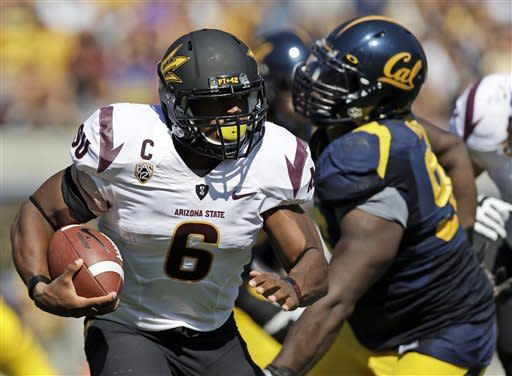 Arizona State running back Cameron Marshall (6) runs against California during the first half of an NCAA college football game in Berkeley, Calif., Saturday, Sept. 29, 2012. (AP Photo/Marcio Jose Sanchez)