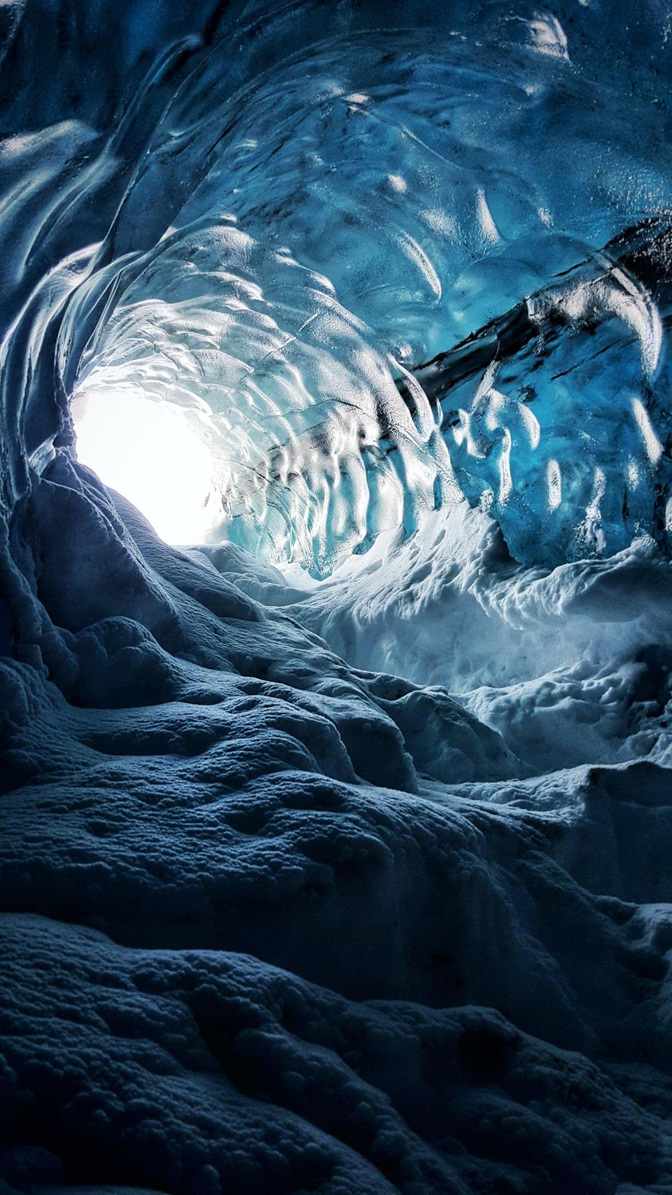 """<p>Take a stroll in one of the many awe-inspiring <a href=""""https://www.popsugar.com/smart-living/Ice-Cave-Iceland-43320961"""" class=""""link rapid-noclick-resp"""" rel=""""nofollow noopener"""" target=""""_blank"""" data-ylk=""""slk:glacier ice caves in Iceland"""">glacier ice caves in Iceland</a>. </p>"""