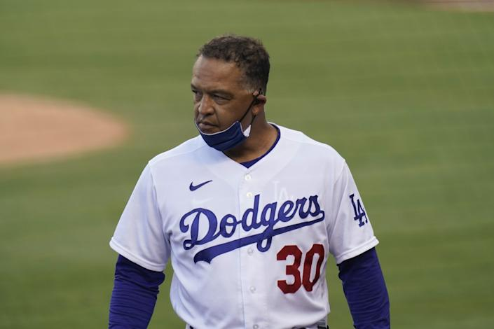 Dodgers manager Dave Roberts is shown against the San Diego Padres on Aug. 13, 2020.