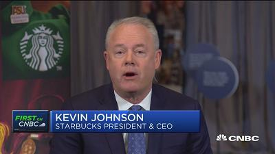Kevin Johnson, Starbucks president and CEO, talks about the company's commitment to equal pay, its growth strategy and relationship with China, and the push into digitally connected customers.