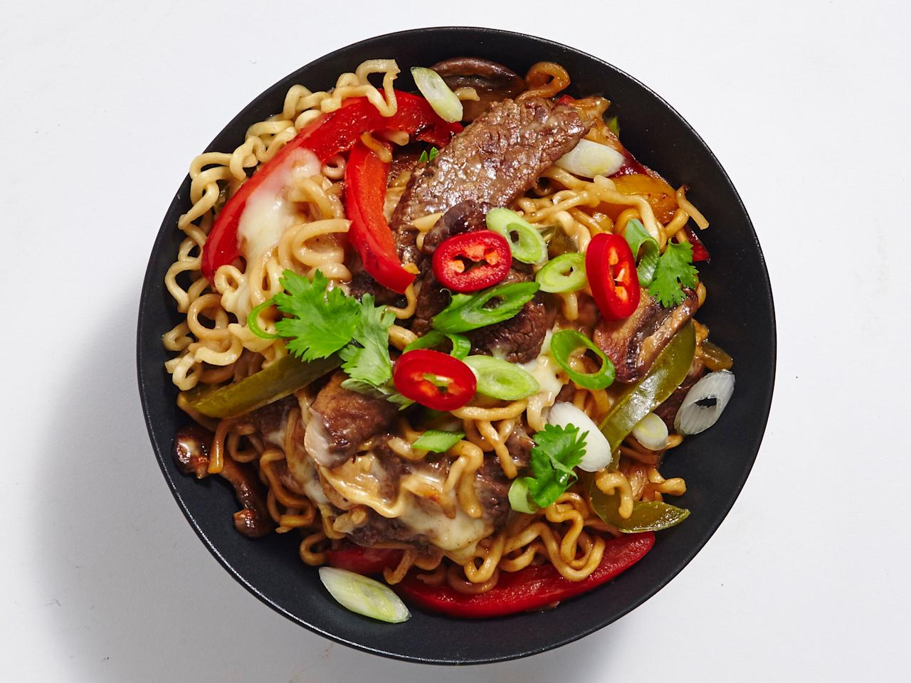 """<p>Though far from traditional, this mighty mashup meal combines two of our favorite comfort foods: <a href=""""https://www.myrecipes.com/recipe/philly-cheesesteak"""">Philly cheesesteaks</a> and ramen. What's not to love? </p> <p><a href=""""https://www.myrecipes.com/recipe/teriyaki-cheesesteak-ramen"""">Teriyaki Cheesesteak Ramen Recipe</a></p>"""