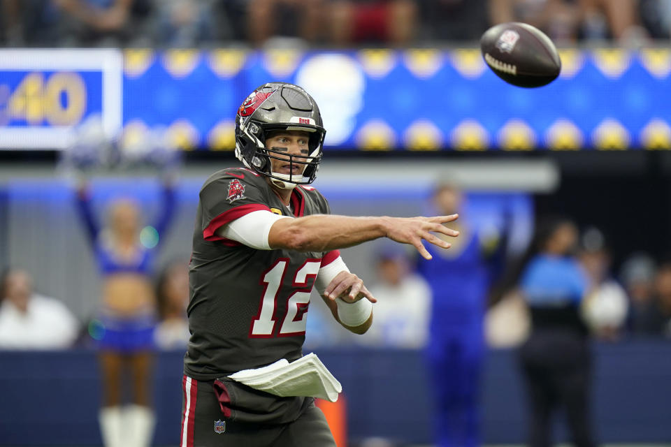Tampa Bay Buccaneers quarterback Tom Brady throws against the Los Angeles Rams during the first half of an NFL football game Sunday, Sept. 26, 2021, in Inglewood, Calif. (AP Photo/Jae C. Hong)