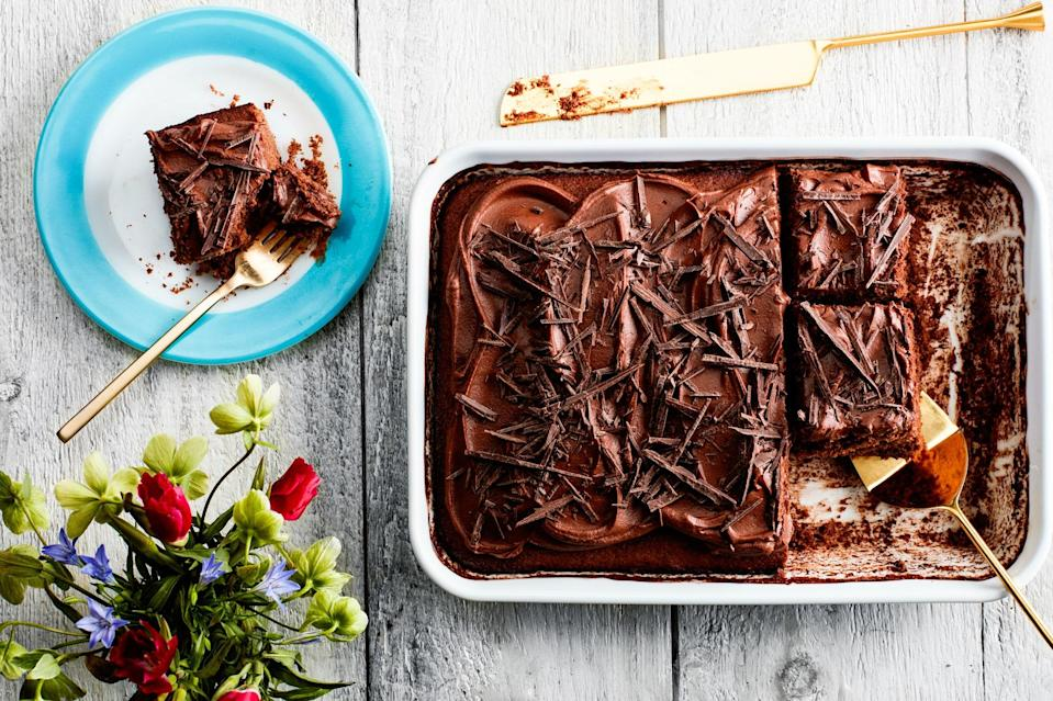 """Use your <a href=""""https://www.epicurious.com/ingredients/why-milk-chocolate-is-better-than-dark-chocolate-article?mbid=synd_yahoo_rss"""" rel=""""nofollow noopener"""" target=""""_blank"""" data-ylk=""""slk:favorite milk chocolate"""" class=""""link rapid-noclick-resp"""">favorite milk chocolate</a> for this one: It's responsible for the rich, creamy flavor of both the cake and the frosting (where it partners perfectly with store-bought dulce de leche or caramel sauce). <a href=""""https://www.epicurious.com/recipes/food/views/one-bowl-milk-chocolate-cake-with-chocolate-caramel-frosting?mbid=synd_yahoo_rss"""" rel=""""nofollow noopener"""" target=""""_blank"""" data-ylk=""""slk:See recipe."""" class=""""link rapid-noclick-resp"""">See recipe.</a>"""