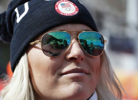Alpine Skiing - Pyeongchang 2018 Winter Olympics - Women's Downhill Training - Jeongseon Alpine Centre - Pyeongchang, South Korea - February 18, 2018 - Lindsey Vonn of the U.S. looks on. REUTERS/Eric Gaillard