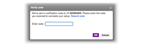 Yahoo Verify code screen