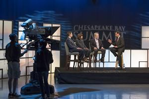 Host Frank Senso (right) guides the conversation during a previous edition of MPT's Chesapeake Bay Summit. Sesno will again be joined by a panel of knowledgeable experts, activists, and government officials for a discussion about the health of the Chesapeake Bay and the status of cleanup efforts.