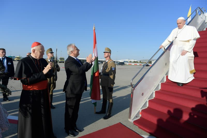 Pope Francis arrives at Budapest International Airport in Budapest