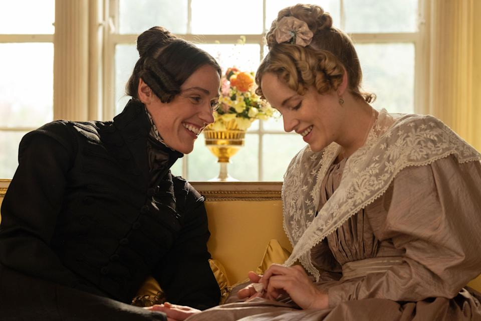 "Suranne Jones as Anne Lister and Sophie Rundle as Ann Walker in ""Gentleman Jack."""